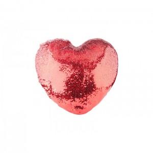Szív alakú glitteres párna, piros